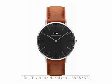 daniel wellington uhr classic black durham silber 40 mm. Black Bedroom Furniture Sets. Home Design Ideas